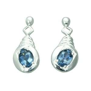 London Blue Topaz in Sterling Silver Rhodium Finish Earrings Peora