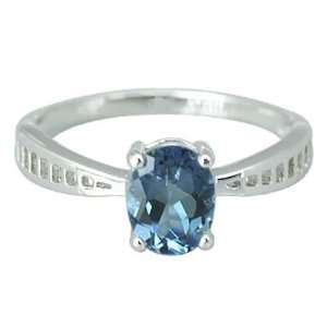 Oval Shape 2.25 carat London Blue Topaz Ring Size 11 in