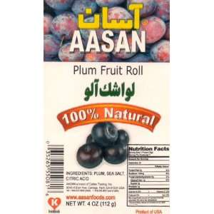 AASAN Plum Fruit Roll (Lavashak Alu) 4 oz   Pack of 6: