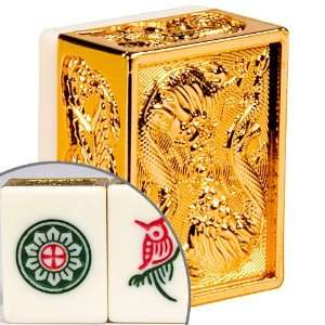 Chinese Mahjong Set Five Layer Case Gold Dragon Toys