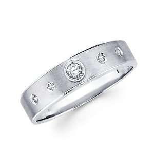 Size  10.5   New 14k White Gold Mens Diamond Solitaire Wedding Ring