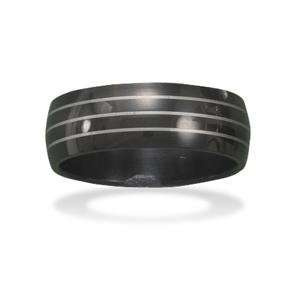 Stainless Steel Black and Silver Stripe Band Mens Ring, 12 Jewelry