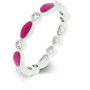 White Gold Rhodium Bonded Link Style Stacker Ring with Pink Enamel and