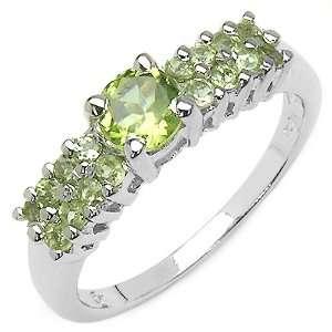 1.10 Carat Genuine Peridot Sterling Silver Ring Jewelry