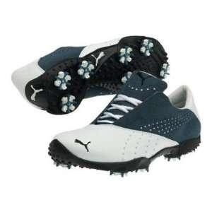 Puma Tour Saddle SL Mens Golf Shoe   White/Stellar Blue