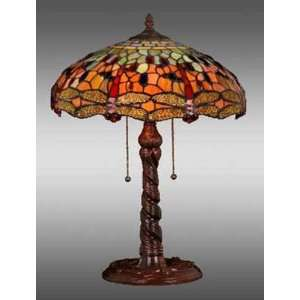 Style Stained Glass Table Desk Lamp Dragonfly 16275TP