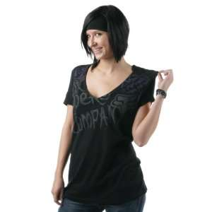 FOX Racing Juniors 54697 BLOOM V Neck Tee Shirt Black L