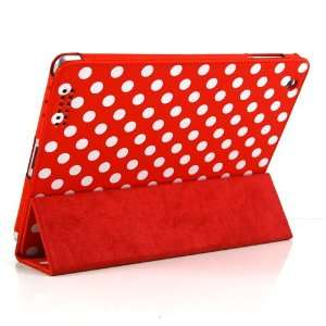 Red and White Polka Dot Pattern Leather Flip Stand Case
