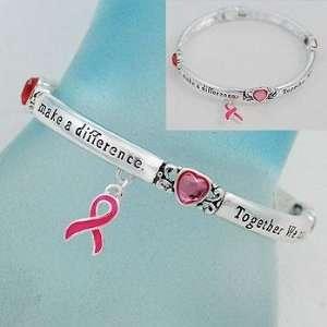 Breast Cancer/Pink Ribbon ~ Bangle Bracelet ~ Pink Heart