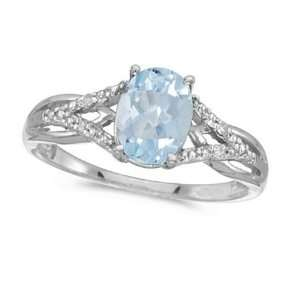 Oval Aquamarine and Diamond Cocktail Ring 14K White Gold