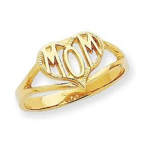 Mom Heart Ring in 14k Yellow Gold Jewelry