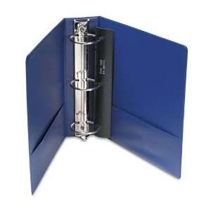 Finish Vinyl Round Ring Binder w/Label Holder, 3in Capacity, Royal