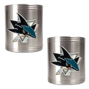 San Jose Sharks NHL 2pc Stainless Steel Can Holder Set