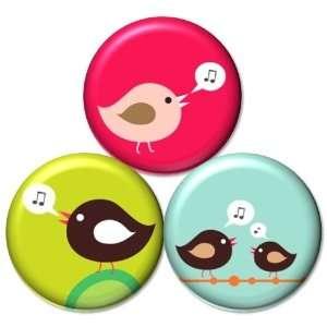 Set of 3 Songbirds Singing Birds Retro Sixties PINBACK BUTTONS 1.25