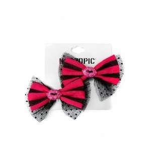 Pink Black Bow Bling Lips Hair Clips 2 Pack Beauty