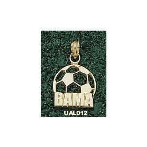 Alabama Crimson Tide Bama Soccer Ball Pendant   14KT Gold Jewelry