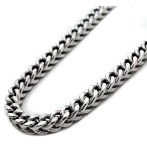 Mens Solid 10k White Gold 3mm Franco Chain Necklace 38