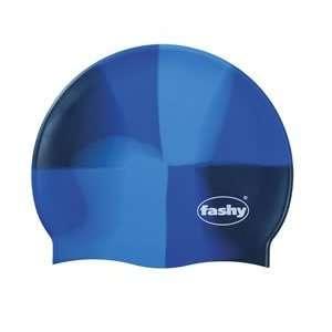 BLUE Swirl Silicone Swim Cap   Made in Germany
