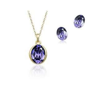 Violet Tanzanite Crystal Gold Plated Pendant & Earrings