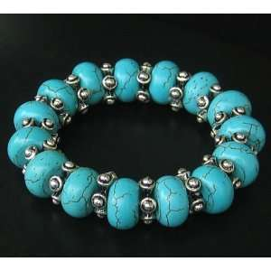 TIBET STYLE TIBETAN SILVER STRETCHED TURQUOISE GIFT BEAD