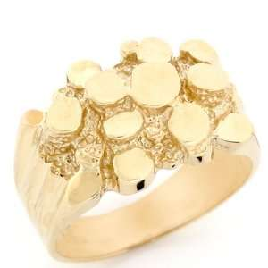 14k Solid Gold Unique High Polished Nugget Mens Ring Jewelry