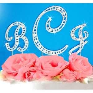 Crystal Vintage Elegance Initial Letter Monogram Wedding Cake Topper