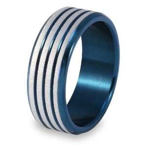 Blue Polished Groove Ring   Size 9.0 West Coast Jewelry Jewelry