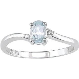 10k White Gold Oval Aquamarine And Diamond Ring (Size 8