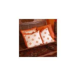 Blockprint Trendy Throw Pillow Cover Set   Orange