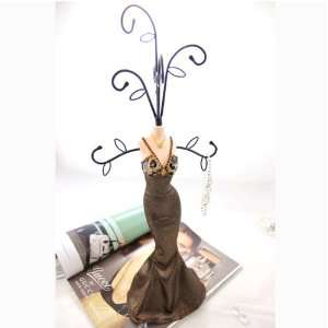 Leopard Print Mannequin Jewelry Stand Tree V Neck Gown