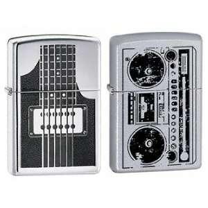 Zippo Lighter Set   Electric Guitar and Beatbox Radio Logo