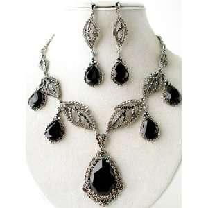 Fashion Jewelry ~ Black Tear Drop Cubic Zirconia Silvertone Necklace