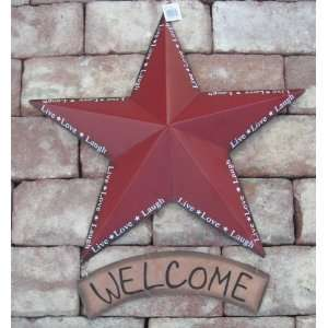 Red * Live Love Laugh * Welcome Metal Star Raised 4