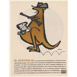 1961 Australia Kangaroo Man Travel Jensen art Life International Print