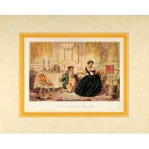 1924 Victorian Woman Man 1858 John Leech Antique Print