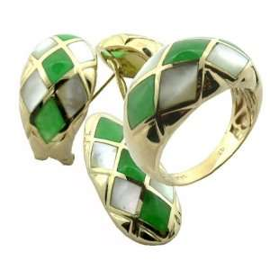 Green Jade and White Mother Of Pearl Diamond Back Earring, Ring and