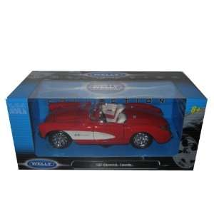 1957 Chevrolet Corvette Red 124 Diecast Model Welly Toys