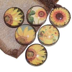 The Black Cat Jewellery Store Sunflower Glass Tile Fridge