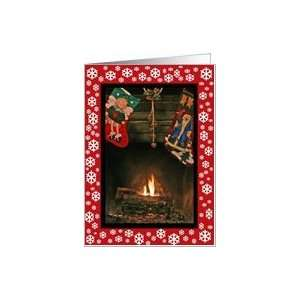 Country Stockings By The Fire And Snowflakes Christmas