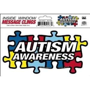 Autism Awareness Puzzle Piece Inside Static Cling: Automotive