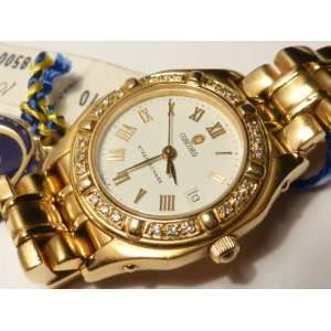 Ladies 18k Gold Concord Steeplechase Watch with Diamond Bezel & Box