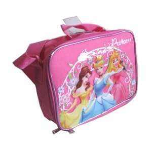 Flower Pink Lunch Tote Bag W/ Belle Cinderella Sleeping Beauty Graphic