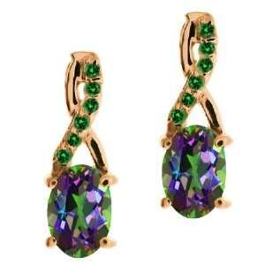 Ecstasy Mystic Topaz and White Diamond 18k Rose Gold Earrings Jewelry