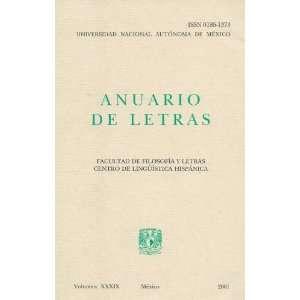 Anuario De Letras Facultad De Filosofia Y Letras Centro De
