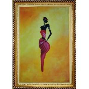 Lady in Red I Oil Painting, with Linen Liner Gold Wood Frame 42.5 x 30