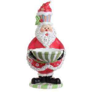 LARGE Santa Claus Christmas Candy Bowl with Cupcake Hat Figurine, 24