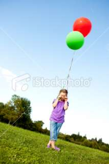 Sad Young Girl Holding Balloons Alone Outside Royalty Free Stock Photo