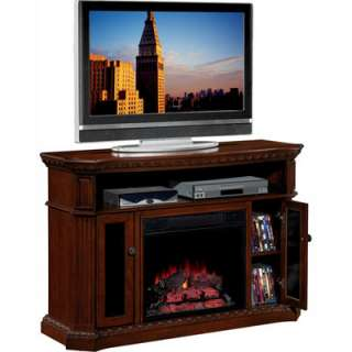 Twin Star TV Stand with Chimney Free Electric Fireplace   Coco Cherry