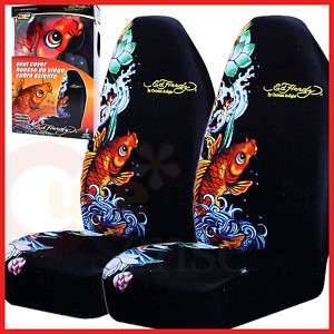 Ed Hardy Koi Car Seat Covers Front 2PC Auto Accesories