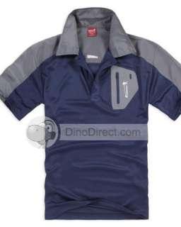 Wholesale Men Pocket Half Zipper Short Sleeve Polo Shirt